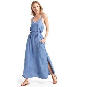 Gap Chambray  Belted Denim Maxi Dress